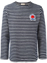 Maison Kitsune Striped Logo Plaque Sweater Blue