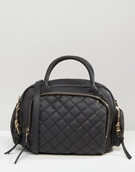 New Look Quilted Bowler Bag With Chain Strap Mid Grey Black