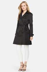 Women's Lauren Ralph Lauren Water Resistant Double Breasted Skirted Trench Coat Black