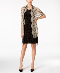 Betsey Johnson Blue Label Sequined And Fringe Evening Wrap Black Camel