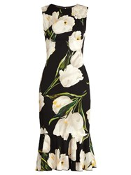 Dolce And Gabbana Tulip Print Stretch Silk Charmeuse Dress Black Multi