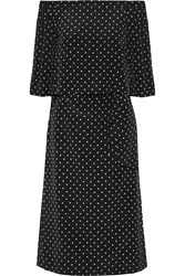 Tibi Off The Shoulder Polka Dot Silk Crepe De Chine Dress