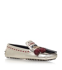 Tod's Embroidered Gypsy Driving Shoes Female Bronze