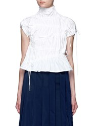 Angel Chen Drawstring Gathered Turtleneck Top White
