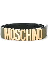 Moschino Logo Plaque Belt Green