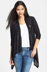 Women's Bobeau Lightweight One Button Asymmetrical Cardigan Black