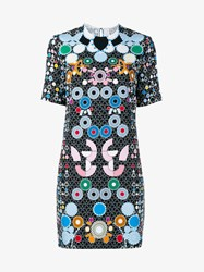 Peter Pilotto Floral Print Short Sleeve Mini Dress Black Multi Coloured White