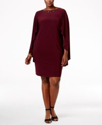 Betsy And Adam Embellished Capelet Dress Wine