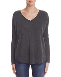 Lilla P Draped Shoulder Sweater Heather Grey