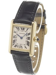 Cartier 'Tank Louis' Analog Watchquar Black