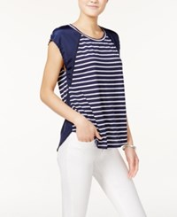 Maison Jules Striped Short Sleeve Top Only At Macy's Blu Notte Combo