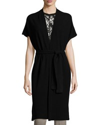 Vince Textured Belted Long Cardigan Women's Black