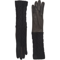 Barneys New York Cable Knit Long Gloves Black