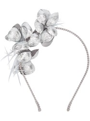 Gigi Burris Millinery Floral Applique Headband Metallic