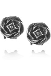 Giles And Brother Silver Rose Stud Earrings Metallic