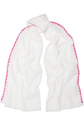 Rose And Rose Monaco Neon Silk Trimmed Cotton Voile Scarf White