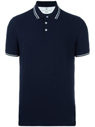 Brunello Cucinelli Striped Collar Polo Shirt Blue