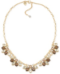 Carolee Top Of The Rock Gold Tone Brown Crystal Collar Necklace