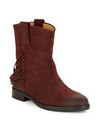 Belle By Sigerson Morrison Licie Fringed Suede Ankle Boot Red