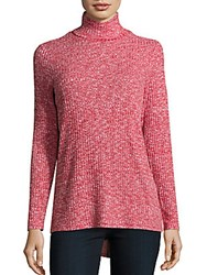 Kensie Ribbed Knit Long Sleeve Pullover Ruby