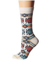 Pendleton Pueblo Cross Crew Socks Natural Women's Crew Cut Socks Shoes Beige