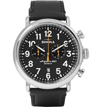 Shinola The Runwell 47Mm Stainless Steel And Leather Chronograph Watch Black