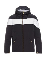 Moncler Gamme Bleu Contrast Stripe Hooded Down Jacket Navy