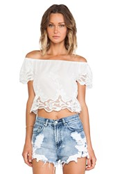 Toby Heart Ginger Windmill Crop Top White