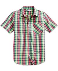 Lrg Men's Big And Tall Burt Mcgirt Plaid Short Sleeve Shirt Pale Butter