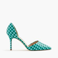 J.Crew Elsie Gingham D'orsay Leather Pumps Blue Emerald