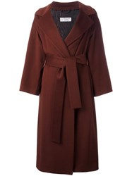 Alberto Biani Belted Single Breasted Coat Red