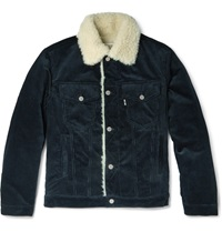 Maison Kitsune Faux Shearling And Corduroy Jacket Blue