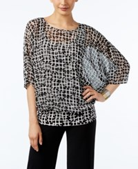 Alfani Printed Banded Hem Top Only At Macy's Criss Cross Black White