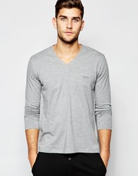 Hugo Boss Long Sleeve Tops In V Neck In Regular Fit Grey