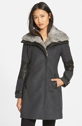 Andrew Marc New York Wool Blend Coat With Leather Trim And Genuine Rabbit Fur Collar Charcoal