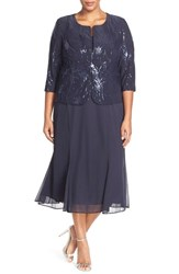 Plus Size Women's Alex Evenings Sequin Mock Two Piece Dress With Jacket Bright Navy