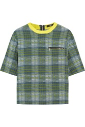 Markus Lupfer Courtney Checked Silk Top Green