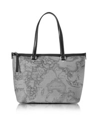 Alviero Martini Geo Dark Canvas And Leather Medium Tote Bag Dark Gray