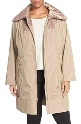 Cole Haan Signature Plus Size Women's Water Resistant Packable Hooded Anorak Champagne