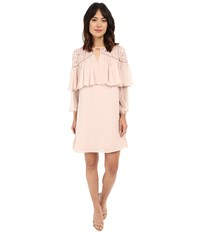 Rebecca Taylor Long Sleeve Mirror Eyelet Dress Cameo Pink Women's Dress