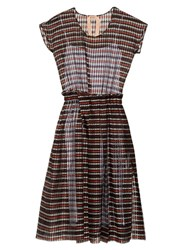 N 21 Checked Silk Blend Dress Burgundy Multi