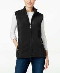 Karen Scott Fleece Zip Front Vest Only At Macy's Deep Black