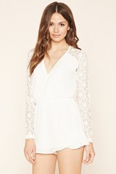 Forever 21 Contemporary Lace Panel Romper