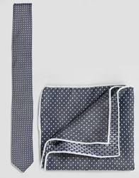 Minimum Tie And Pocket Square Set In Polka Dot Blue