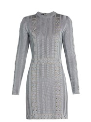 Balmain Lace Up Satin Knit Dress Light Blue