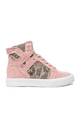 Supra Elyse Walker Skytop Wedge Suede Sneakers In Pink Animal Print