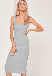 Missguided Basic Rib Cami Midi Dress Grey