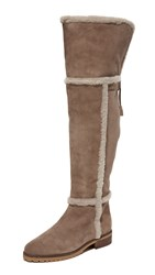 Frye Tamara Shearling Over The Knee Boots Taupe