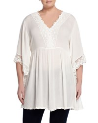 Cirana Plus Kimono Sleeve Lace Trim Sheer Crepe Dress Off White