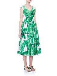Dolce And Gabbana Printed Button Back Dress Banana Leaf